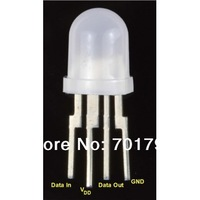 PL9823-F8;8mm round hat RGB LED with P9823 chipset inside;full color;frosted