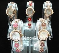 10pcs/lot BRAND new watches Fashion Design round face flower Bracelet wristWatches Time Quartz L22 FOR Women Lady's girls