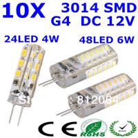 10pcs/lot free shipping G4 24 LED   48LED  3014SMD  chip led Silicon lamp 4W 6W  DC 12V 360 Degree non-polar