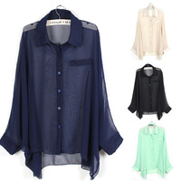 BloE/L-XXXL SIZE The Newest High Quality European Style Loose Fit Chiffon One Size Blouse/Cardigan/Tops