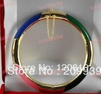 0025 Beautiful 18K GP Multicolor Jade Bracelet Bangle AAA+