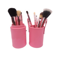 pink Professional makeup brush set 12pcs Leather Cup Holder Case kit support Drop ship