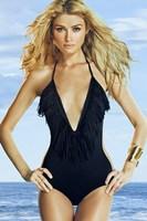Free Shipping 2014 New Vintage Sexy Women V-Neck Swimwear Beachwear Cheap One Piece Swimsuits Beach Dress Fashion Bathing Suits
