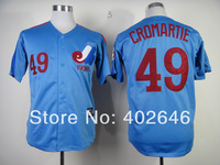Wholesale baseball Montreal #49 Warren Cromartie M&N blue jerseys,  please read size chart before order