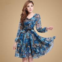 2014 spring and autumn print charm of basic long-sleeve dress ol plus size xxxl clothing autumn one-piece dress elegant