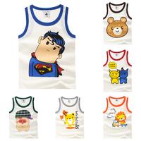 2014 children's clothing summer child cartoon male female child baby underwear child tank 100% cotton t-shirt