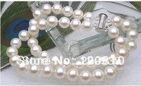 Genuine Silver Clasp 2Strands 7-7.5mm Round Cream White Akoya Pearl Bracelet 7.5