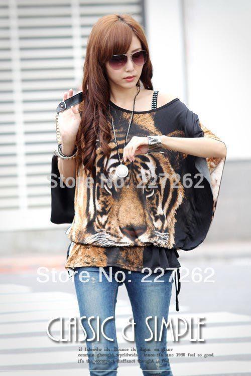 2015 New Fashion Summer Women Tiger Printed blouses Batwing Tops Cotton Short-Sleeve chiffon Women Animal Pattern(China (Mainland))