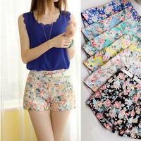 Free shipping new 2014 retro floral print shorts high Elastic waist large shorts, slit Pants side women girl shorts pants 3042