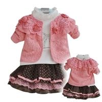 Autumn 2014 three-piece skirt girls round neck 100% cotton children's suits