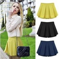 2014 new saia casual skort pants shorts culottes women autumn winer PU cheap high waisted chiffon shorts saia skirt brand