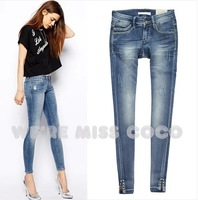 MISS COCO 2014 New High- End Hot Diamante Good Shape Skinny Low Waist Denim Pencil Jeans for Ladies Women Free Shipping
