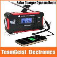 America Hand Crank digital radio 7 Weather Bands Alert Emergency Solar Mobile Charger Flashlight Dynamo NOAA AM/FM Free Shipping