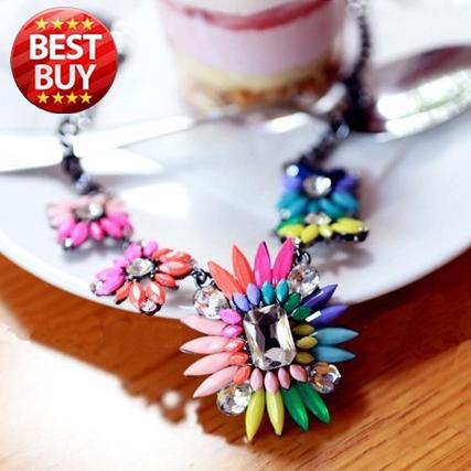 2014 New Fashion Punk Choker Chain Shourouk Charm Rhinestone Vintage Neon Bib Statement Necklaces & Pendants Women Jewelry Gift(China (Mainland))