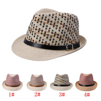 In Stock! 4 Color 2014 Brand New Fashion Men/Women Summer Straw Beach Sun Hat Caps fedoras hat Free Shipping