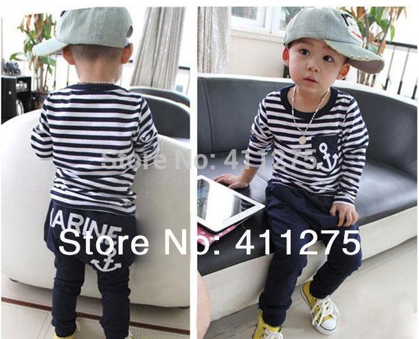 retail Spring Autumn children/kids long-sleeves marine stripped hoodie hoodies + pants boys 2 pces set(China (Mainland))