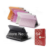 Hot case Diamond-encrusted PU Leather Case for iPad Mini / mini 2 + a stylus and data lines for gift