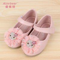 Spring female child princess shoes rhinestone hellokitty flower lace velcro leather shoes