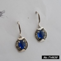 925 sterling silver jewelry vintage Thai silver blue corundum. Ms. New earrings xh033685