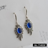 925 sterling silver jewelry vintage Thai silver blue corundum Inlaid race. Ms. New earrings xh036499