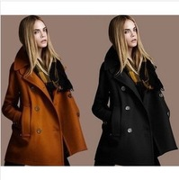 Winter 2014 New European And American Fashion Temperament Slim Woolen Coat Lapel Double-Breasted Wool Coat Allows Purchasing