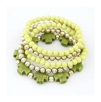 Free Shipping! Fashion Personality Candy Colored Multilayer  Elastic Pearl Crystal Bead cross Bracelets For Women D168