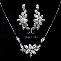 New 2014 Necklaces Pendants 18K Gold Plated Crystal Wedding Gemstone Flower Jewelry Sets Wedding Accessories Lovers Gift C-S0001