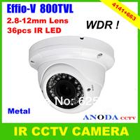 Super WDR Sony Effio-V 800TVL 2.8-12MM Manual Zoom Lens 36pcs Leds OSD Menu Security Dome IR CCTV Camera