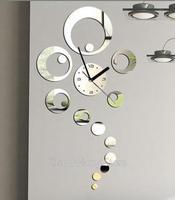 2015 home decoration mural free shipping 3d mirror wall sticker decor big ring decorative clock watche design living room