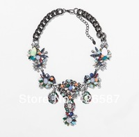 New 2014 flower Za Brand Fashion Luxury multi color for women Crystal Statement Necklaces & Pendants Choker Collar Chunky girls