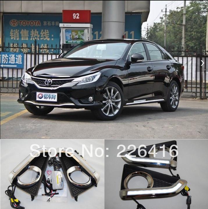 Free shipping,2x super bright LED DayTime Running Light fog light lamp plating chrome for Toyota REIZ Mark X 2013, excellent DRL(China (Mainland))