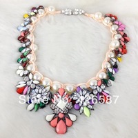 2014 New girls multi color flower Luxury brand green pearl shourouk chokers necklace vintage statement braid pendant jewelry