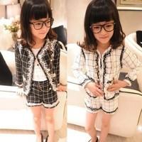 2014 female child spring and autumn british style children's clothing set child casual set plaid suit set