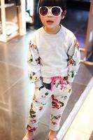 Spring children's clothing child set female child flower sports long-sleeve knitted sweatshirt harem pants set