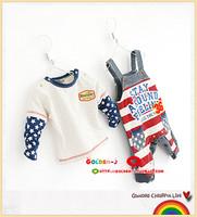 Stripe long-sleeve top t-shirt bib pants bodysuit romper twinset baby boy child baby autumn and winter