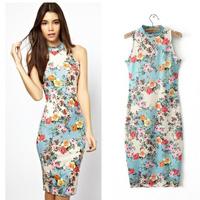 Fashion 2014 Spring Elegant Dresses Floral Package Hips Stretch Slim Sleeveless Cotton Women Casual Knee-length Dress 942