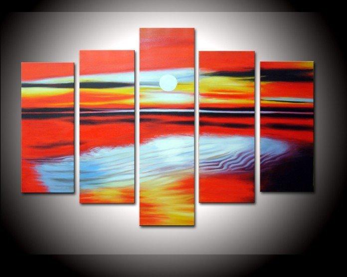 handpainted 5 pedaço vermelho paisagem branca pinturas a óleo sobre tela parede arte bela praia cenário seascape fotos ondas do mar(China (Mainland))