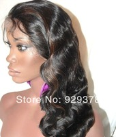 Free Shipping 100% Brazilian Virgin Full Lace Human Hair Wig Natural Color