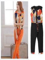 2014 New spring and summer women's clothes Korean Slim suit vest jumpsuit Korea velvet jumpsuit Long pants vest Free Shipping
