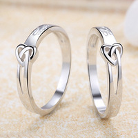 Elegant genuine 925 sterling silver white gold plated tie of knot LOVE  couple ring for men and women 1 pcs price