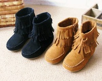 2014 female child boots tassel side zipper winter boots princess boots Low cylinder boots  children shoes female fashion child