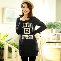 2013 autumn o-neck letter print knitted cotton medium-long 100% women's sweatshirt women's