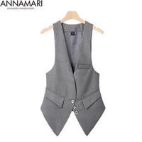 2014 spring women's plus size small suit ol office Ladies slim vest tank tops for women black,light gray,S-XXL,YU12,Free Ship