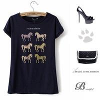 CL1467 European Style Brand Six Cute Hobby Horse Print Navy Blue Short Sleeve O-Neck All-match Spring Summer Fall Women T-shirts