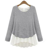 Womens Cotton Chiffon Splicing False Two Pieces Long Sleeve Blouse Jumper Knitwear   75975  -  75982