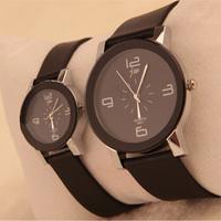 1pcs Lover Gift Black PU Leather Wrist Watch For Women Men Quartz Movement Free shipping & Drop shipping