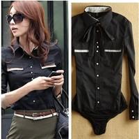 Korean fashion shirt long-sleeve office lady OL shirts black lady's pocket body shirt with underwear