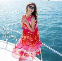 Sweet 2014 beach bohemia beach dress chiffon sleeveless one-piece dress skirt short design female