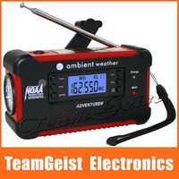 American AM/FM NOAA 7-channel Weather Bnad digital radio Emergency Solar Mobile Charger Hand Crank Dynamo Radio 3 LED flashlight