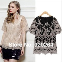 Free Shipping New In 2014 Spring Fashion European Style Short-Sleeved  O-Neck Elegant Floral Embroidered Women T-shirts Z-9046